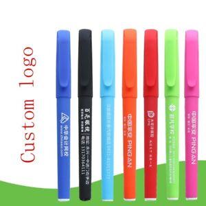 Lot 100pcs Advertising Company Pen Custom Print Logo Gift Plastic Ballpoint Pen