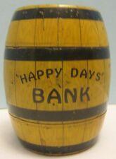 Antique Tin Litho Toy Happy Days Barrel Bank w Locking Trap J Chein Co 1930s