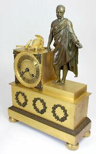 Very fine French EMPIRE Bronze Mantel Clock emperor Marcus Aurelius um 1800