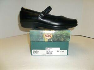"Womens Size 9M SAS ""Maria"" Black Leather Mary Jane Shoes"