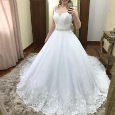Lace Tulle Wedding Dresses Sleeveless With Crystal Belt Bridal Gowns Cap Sleeves