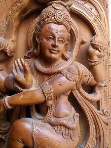 """14"""" Vintage carved sandalwood Shiva Nataraj - India mid 20th C. - Indian God"""
