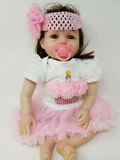 "22"" Baby Girl Doll Reborn Soft Vinyl Doll Clothing & Accessories Ballerina Pink"