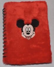 """6 1/2"""" X 9"""" Mickey Mouse Branded Spiral Notebook-Felt Cover/Disney/Diary"""