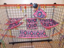 PINK NAVY AZTEC   Sugar Glider 6 Piece Cage Set