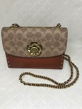 ~NEW~ Coach PARKER 18 IN SIGNATURE CANVAS LEATHER WITH RIVETS SHOULDER BAG