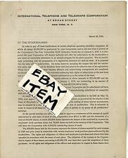 1936 SOSTHENES BEHN Letterhead INTERNATIONAL TELEPHONE and TELEGRAPH CORPORATION