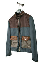 Original Prada Milano Hidden Hoodie Leather App Blue Men Jacket in size 50