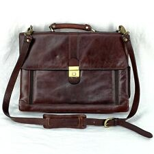 Vintage Messenger Laptop Briefcase Brown Leather Bag Attaché Beccaccino Italy