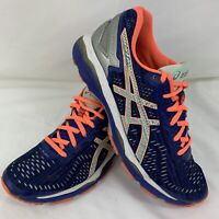 Asics Womens Size 8.5 US Gel-Kayano Running Shoes T6A6N Blue Silver Flash Coral