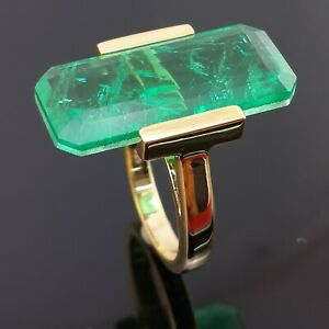 Simulated 25ct Green Emerald Yellow Gold Plated Single Stone CZ Party Ring Women