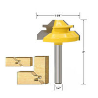 """45 Degree Lock Miter Router Bit 1/4"""" Shank Tenon Chisel Cutter Woodworking Tool"""