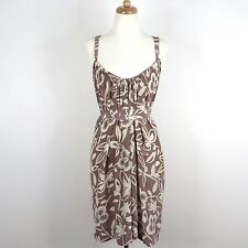 Graham & Spencer Brown White Print Tie Waist Strappy Back Dress. S Anthropologie