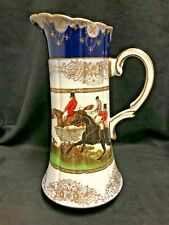 VINTAGE LIMOGES PORCELAIN PITCHER WITH HUNTING SCENES AND HORSES.