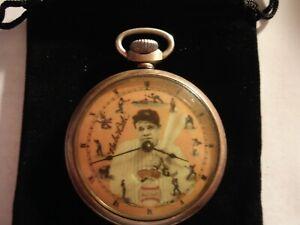 1927 Ingraham Pocket Watch Babe Theme Dial & Case Runs.