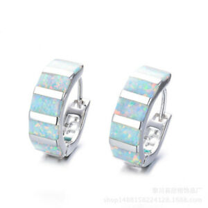 Fashion Silver Filled White Simulated Opal Hoop Earrings For Women Wedding