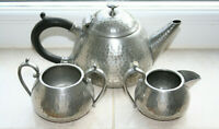 Vintage Craftsman Sheffield Hammered 2-Cup Pewter Tea Set