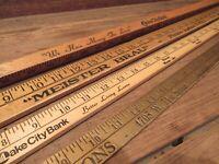 Vintage LOT Wood Yard Sticks w/ Advertising - Bank Insurance & Others!