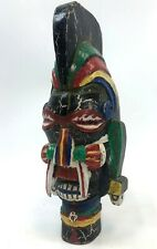 Vintage Central America Native Carved Painted Aztec Maya Wood Demon God Head