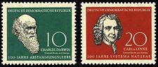 EBS East Germany DDR 1958 Charles Darwin & Carl Linnaeus Michel 631-632 MNH**