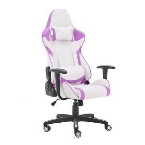 Gaming Computer Chair Home Adjustable Racing Chair Purple White Ergonomic Chair