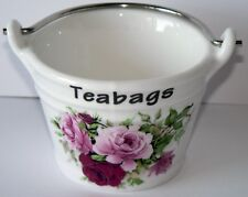 Pink rose teabag tidy Bucket, small bucket decorated with roses both sides