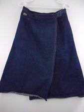 Vintage Izod Lacoste Girls sz 16 Blue Denim Wrap Skirt
