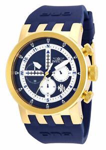 Invicta 25048 Blue DNA 46mm Quartz Chronograph GMT Silicone Strap Men's Watch