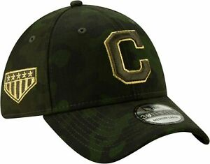 NWT NEW ERA CLEVELAND INDIANS MLB 39THIRTY ARMED FORCES CAMO FLEX HAT M/L