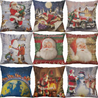 "18"" Christmas Deer Animal Home Decor Cotton Linen Pillow Case Cushion Cover"