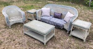 Vintage Rattan Patio Wicker Furniture Set 5Pcs Chair Tables Backyard Garden Sofa
