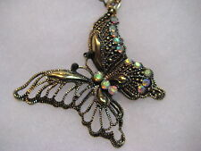 Rhinestone Butterfly Necklace and Earrings Set Jewelry lot 7