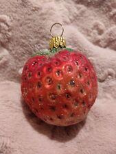 #94-333-0 Christopher Radko Strawberry Blown Glass Christmas Ornament  #5