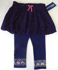 Oshkosh 3T Navy Polka Dot Skirt & Print Leggings Set Toddler Girl Clothing