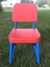 VTG 1980's Fisher Price Child Size Chair Preschool Art Crafts Red Blue Metal (a)