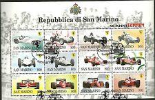 SAN MARINO FOGLIETTO USATO 50° ANNI FERRARI AUTO CORSA 1998 ANNULLO SPECIALE