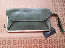 NEW HUGO BOSS WOMANS DESIGNER GREEN LEATHER WALLET HAND CLUTCH PURSE BAG