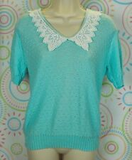 Women Short Sleeve Knitted Lace Vintage Look Top Sweater Size M Medium EUC
