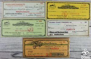 Lot of 5: Vintage Merchant Bank Checks Juneau, Ketchikan & Sitka Alaska