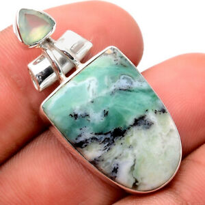 Prase Aqua - Africa and Chalcedony 925 Sterling Silver Pendant Jewelry 5286