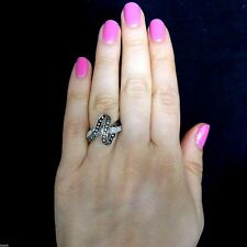 Diamond 18k White Gold Twisted Looped Ring Band Vintage Estate Jewelry Gift