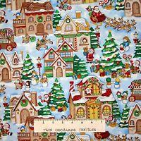 Christmas Fabric - Season's Greetings Santa Village Reindeer - Fabri Quilt YARD