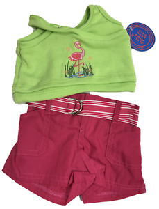 """Pink & Green Flamingo Shorts Outfit Fits Build A Bear 12"""" - 18"""" Teddy Bears"""