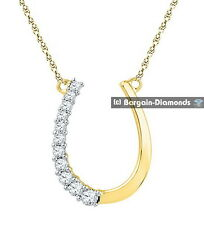 lucky horseshoe diamond .20 carats necklace 10K gold luck hope success fame