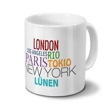 """Städtetasse Lünen - Design """"Famous Cities in the World"""""""