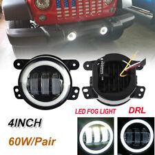 "For 07-17 Jeep Wrangler JK A Pair 4"" Inch LED Fog Lights Front Bumper Lamp"