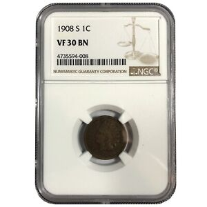 1908-S United States Indian Head Cent Penny - NGC VF30 BN
