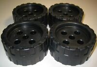 Plastic Tinker Toys Parts Lot: 4 BLACK WHEELS Large Tinkertoy Replacement Pieces