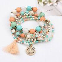 6Pcs/Set Bohemian Bracelets Women Tassel Multilayer Beads Bangle Jewelry Holiday