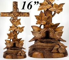 """Antique Hand Carved Black Forest Holy Font with Birds & Nest, HUGE 15.75"""" Tall"""